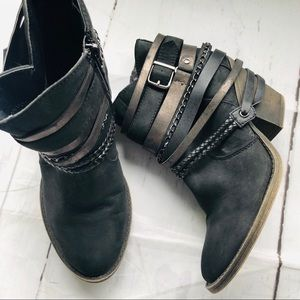 Jellypop Jared Black Destresed Ankle Boots sz 7m.